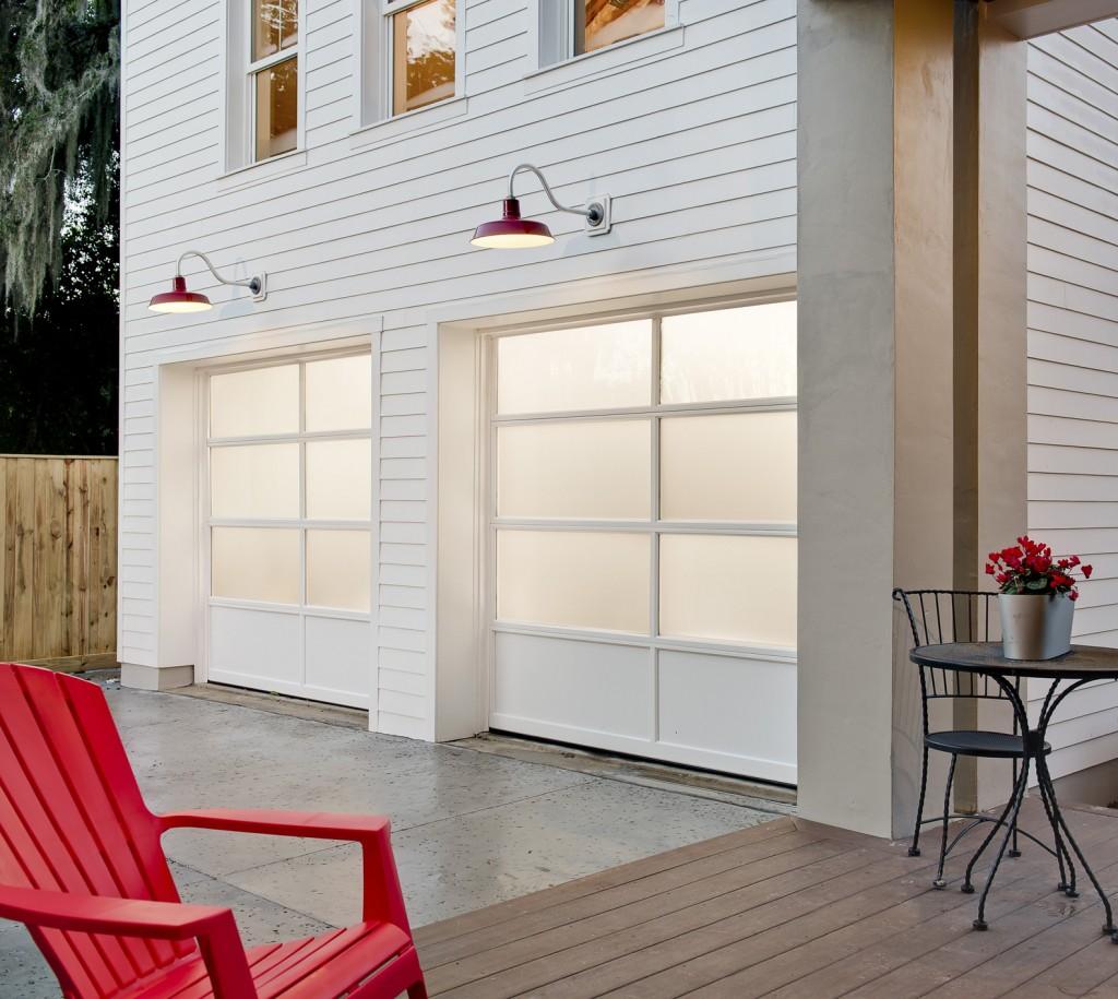 Clopay aurora overhead door for Modern farmhouse garage doors