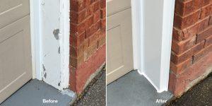 Capping damaged garage door frames