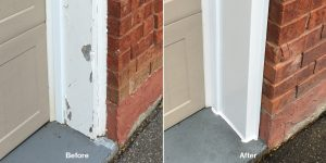 Capping damaged garage door frames